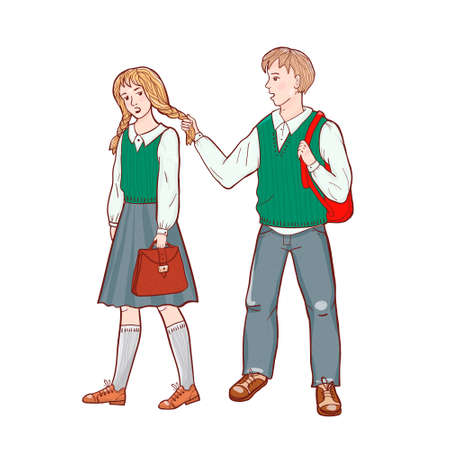 Ilustración de Vector illustration of students isolated on white - Imagen libre de derechos
