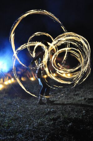 fire juggler in artistic activity near to the national park La Amistad, Costa Rica