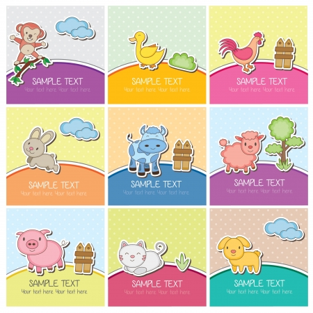 Photo for cute farm animal cards - Royalty Free Image