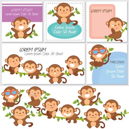 Illustration pour monkeys and friends digital set - image libre de droit
