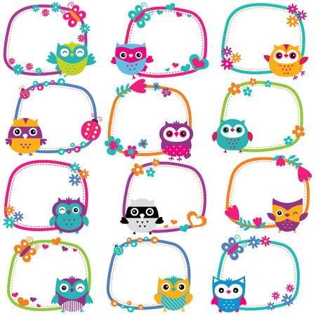 Illustration pour cute owl frames clip art set - image libre de droit