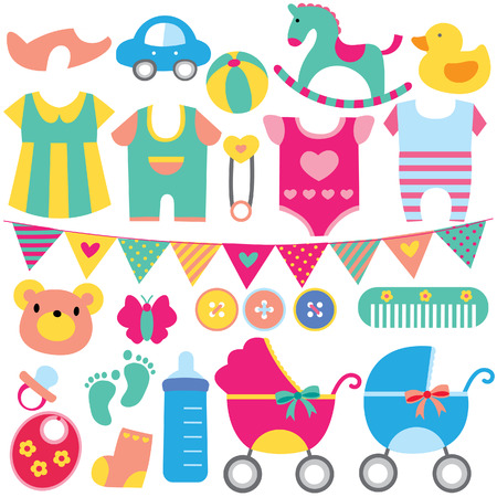 Illustration pour baby objects clip art set - image libre de droit