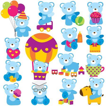 Ilustración de baby teddy clip art set - Imagen libre de derechos