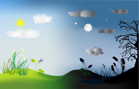 Illustration for day and night - Royalty Free Image