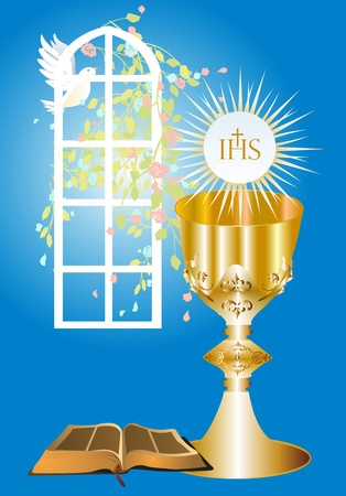Illustration for first communion, - Royalty Free Image