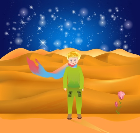 Illustration for composition with a little boy who is alone on an alien planet - Royalty Free Image