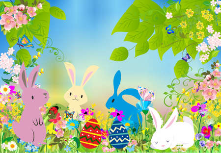 Photo pour composition with bunnies, easter eggs and flowers for easter - image libre de droit
