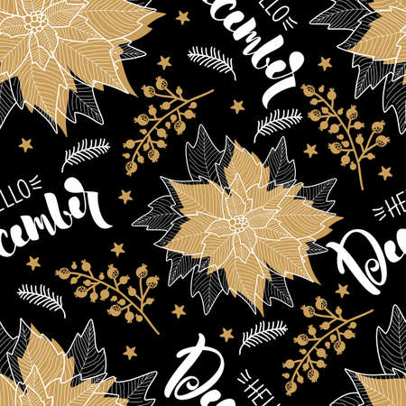 Illustration pour Seamless pattern with Christmas elements. Vector illustration. Printing on paper and fabric. - image libre de droit