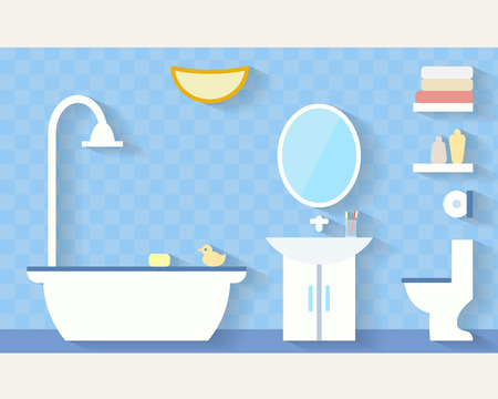 Bathroom with furniture and long shadows. Flat style vector illustration.