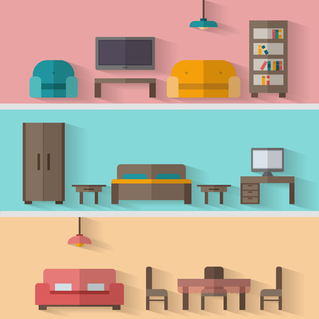 Furniture icon set for rooms of house. Flat style vector illustration.
