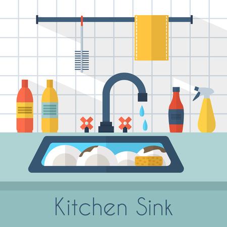Illustration pour Kitchen sink with kitchenware, utensil,  dishes, dish detergent and a sponge. Flat style vector illustration. - image libre de droit