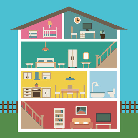 Illustration pour House in cut. Detailed modern house interior. Rooms with furniture.  Flat style vector illustration. - image libre de droit
