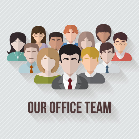 Illustration pour People avatars group icons in flat style. Different male and female faces in office team. Vector illustration. - image libre de droit
