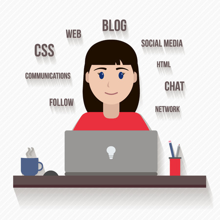 People avatars in flat style. Woman with computer. Vector illustration.