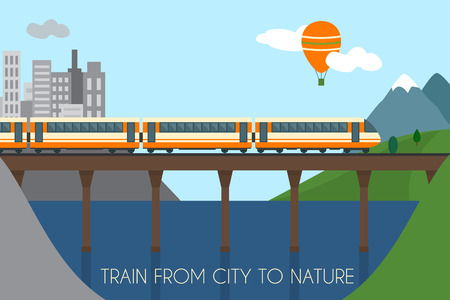 Illustration pour Train on railway and bridge. Train from city to nature.  Flat style vector illustration. - image libre de droit