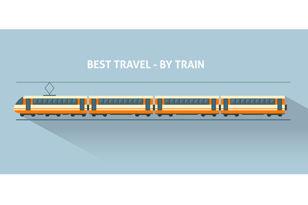 Illustration pour Train with long shadows. Flat style vector illustration. - image libre de droit