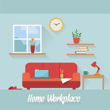 Home workplace flat vector design. Workspace for freelancer and home work.
