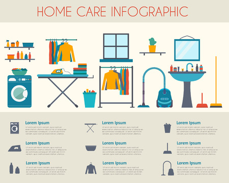 Home care and housekeeping infographic. Room with different housework icons. Flat style vector illustration.