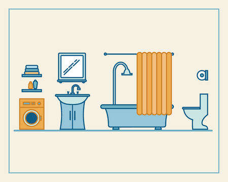 Bathroom with furniture and long shadows. Flat line style vector illustration.