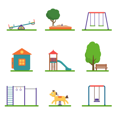 Kids playground set. Icons with kids swings and objects. Flat style vector illustration.