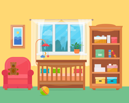 Illustration for Baby room with furniture. Nursery and playroom interior. Flat style vector illustration. - Royalty Free Image