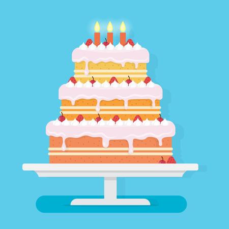 Vektor für Happy Birthday cake with candles. Party and celebration design elements. Flat style vector illustration. - Lizenzfreies Bild