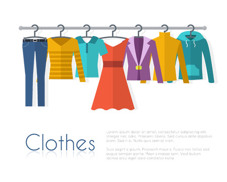 Ilustración de Racks with clothes on hangers. Flat style vector illustration. - Imagen libre de derechos