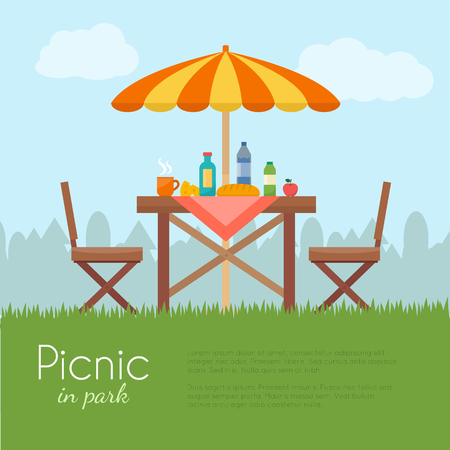 Illustration pour Outdoor picnic in park. Table with chairs and umbrella. Flat style vector illustration. - image libre de droit