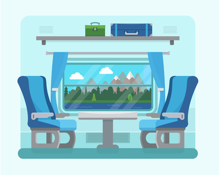 Passenger train inside. Seat in railway transport. Travel and transportation by train. Flat style vector illustration.