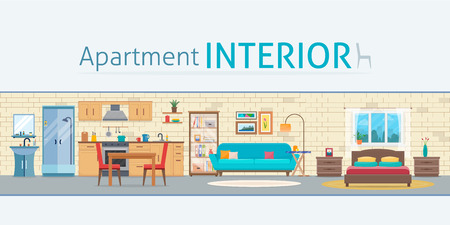 Illustration pour Apartment inside. Detailed modern house interior. Rooms with furniture. Flat style vector illustration. - image libre de droit