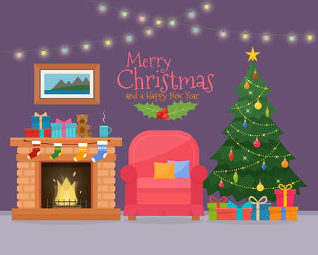 Christmas room interior with sofa. Christmas tree and decoration. Gifts and fireplace. Flat style illustration.
