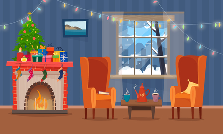Illustration pour Chairs and table with cus of tea or coffee, cookies and pillow. Christmas fireplace with gifts, socks and candles. - image libre de droit