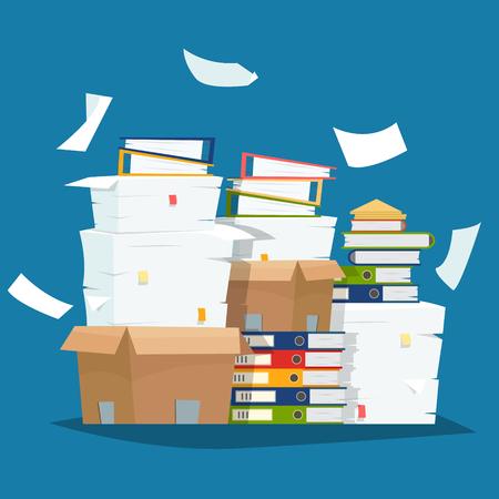 Illustration pour Pile of paper documents and file folders in carton boxes vector illustration - image libre de droit