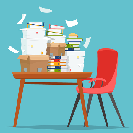 Ilustración de Pile of paper documents and file folders in carton boxes on office table. - Imagen libre de derechos