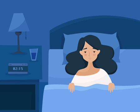 Illustration pour Sleepless girl suffers from insomnia. Woman in bed with open eyes in darkness night room. Flat cartoon style vector illustration. - image libre de droit