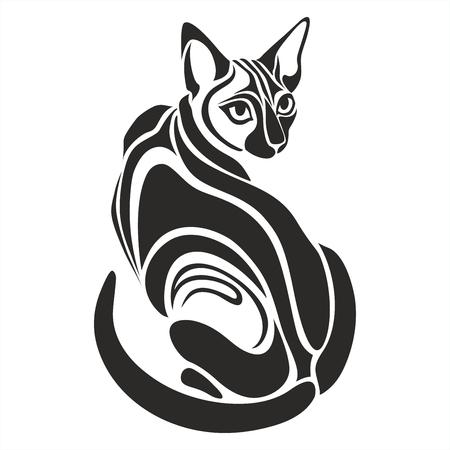 Illustration pour Egyptian Black cat dangerous looking vector graphic tattoo drawing - image libre de droit