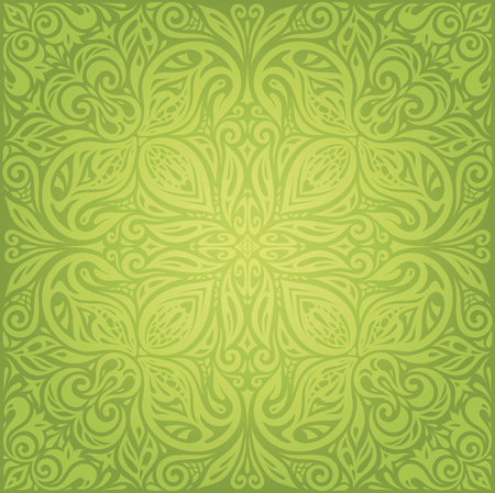 Green Floral Retro Vintage Wallpaper Vector Mandala Design