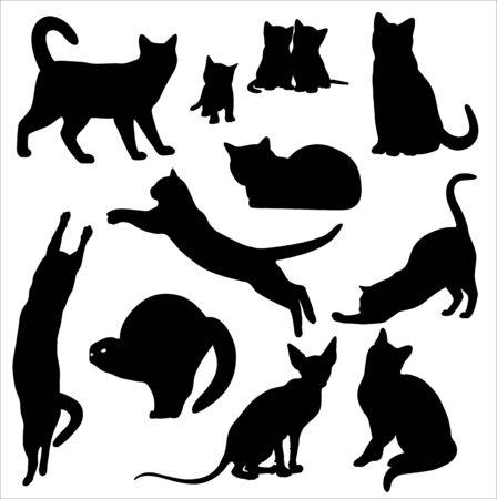 Photo pour Cat silhouette  set Isolated On White - image libre de droit