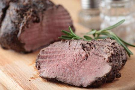 Slices of roast beef closeup