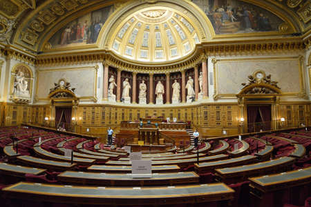 Paris, France - September 14, 2013: Meeting hall of Senate in the Luxembourg Palace. The palace was originally built in XVII century, and since 1958 it houses the French Senate of the Fifth Republic