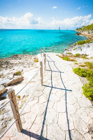 Tourist trail on Isla Mujeres in Cancun, Mexico