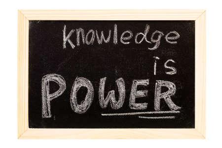 It is a blackboard written knowledge is power slogan.