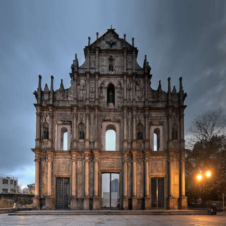 Ruins of St. Paul's, the famous landmark in Macau(Macao) in night.
