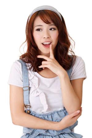 Photo pour Smart girl thinking, half length closeup portrait on white background. - image libre de droit