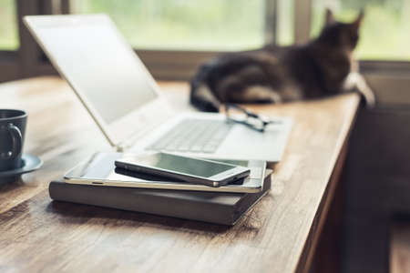Photo pour smart phone on the table with cat, concept of working at home - image libre de droit