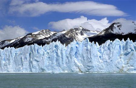 Glacier Perito Moreno with Mountain range