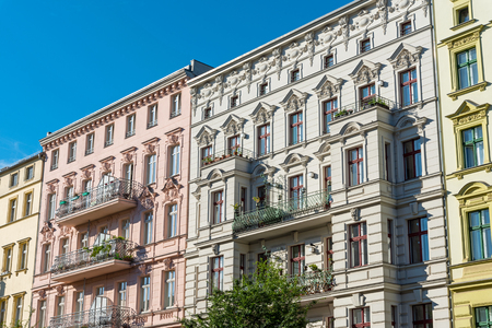 Renovated old houses at the Prenzlauer Berg district in Berlin, Germany