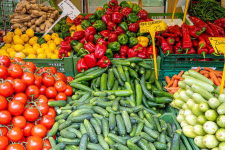 Photo for Colorful market stall with fresh vegetables for sale - Royalty Free Image