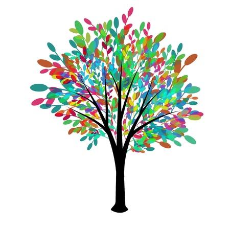 Decorative tree with multicolored foliage
