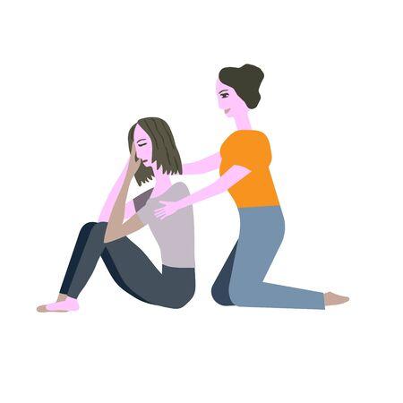 Vektor für Girl comforts a girl vector illustration - Lizenzfreies Bild